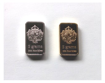 Silver + Gold Lion Collectible Ingot Set
