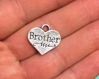 """SALE *** 4 """"Brother"""" antique silver heart charm pendant for bracelets necklaces jewelry 17mm x 16mm A10LB"""