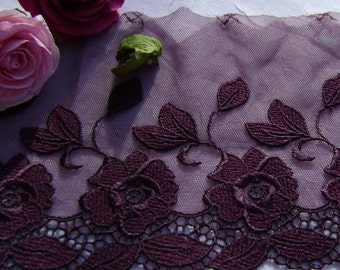 3.00 metres Beautiful deep Burgundy Embroidered Tulle Lace.