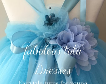 Soft Baby Blue Tulle Tutu Dresses with Chiffon and Handmade Tulle Flowers