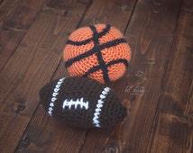 Football newborn prop, basketball prop, crochet ball plush, newborn plush, stuffed ball, baseball prop, newborn prop