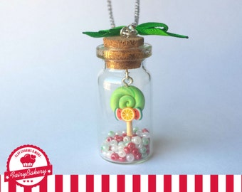 Lollipop in a bottle, polymer clay charm and beads, foodjewelry, dessert jewelry, handmade