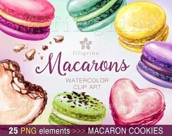 MACARONS watercolor Clip Art. 25 PNG elements. Macaron cookies, macaroons, bisquit, dessert, sweets