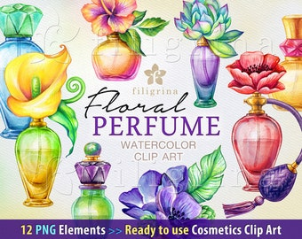 Floral PERFUME bottles watercolor Clip Art. Flowers, glass jar, fragrance, scent, aroma, oil, aromatherapy. 12 PNG elements. Commercial use
