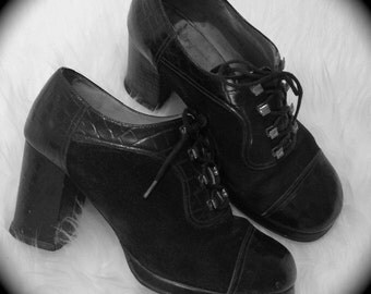 "Leather ""Punk"" Lace Platform High Heels"