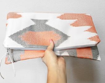 Aztec Fold Over Zip Clutch