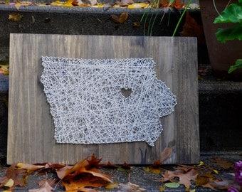Custom Made Iowa String Art Wall Hanging