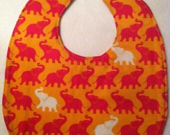Reversible Baby Bib - Elephant Print - FREE U.S. SHIPPING
