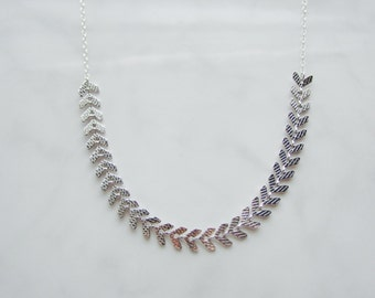 Rhodium Plated Chevrons on 925 Sterling Silver Chain OR Gold Plated Chevrons on Gold Filled Chain