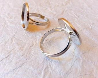 18mm Rhodium, White Gold Plated Adjustable Ring Blanks - 3 Pcs