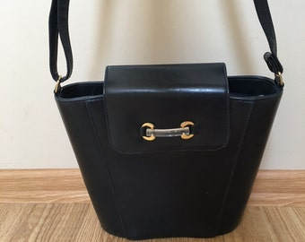 Navy Blue Leather Bucket Bag