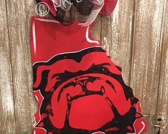 University of Georgia Bulldog Wood Door Hanger - Georgia Dawgs - Go Dawgs - Georgia Bulldogs - UGA Sign - Alumni Sign - Bulldog Fan