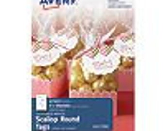 Avery Textured White Scallop Round Tags 41557, 1-7/8  Diameter Pack of 18