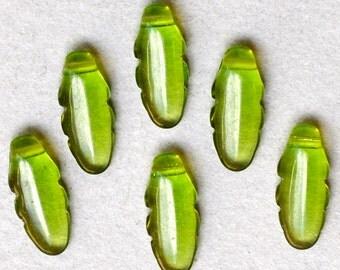 Czech Glass Leaf Beads - Feather Bead - Oak Leaf Bead - 6mm x 13mm - Various Shiny Colors - Qty 25