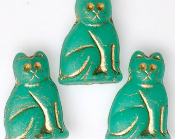NEW COLOR! 20mm Seated Cat Bead with Gold Detail - Czech Glass Cat Beads - Jade Matte - Qty 4