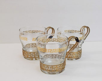 Vintage set of 3 Libbey's gold and glass mugs / brass coffee cups