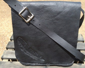 Feather Hand-tooled Leather Purse