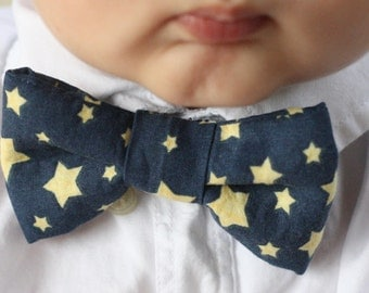 Navy and Gold Stars Bow Tie (Infants, Toddlers, Boys, Photo Prop, Special Occasion)