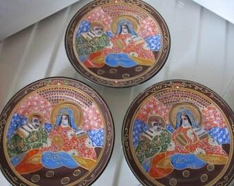 """THREE (3) Takito Co Moriage Hand Painted 7-1/2"""" Plates"""