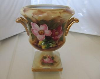 ENESCO JAPAN 2 Handled Miniature Porcelain Urn Hand Painted Gold Accent #E2356
