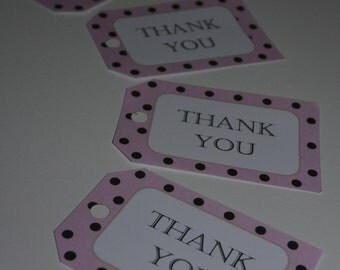 Pink Polka Dot Customised Thankyou Tags, Favour, Thankyou Label
