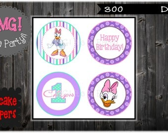 Daisy Duck Cupcake Toppers, Daisy Duck Toppers, Daisy Duck Party Printables
