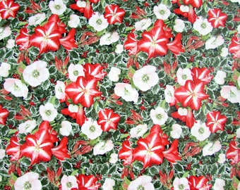 Four Seasons Amaryllis & Christmas Rose Green/Red Fabric From David Textiles