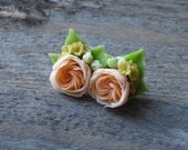 Orange rose stud earrings Garden rose jewelry Floral earrings Orange rose Miniature jewelry Small earrings Flower stud Clay Rose earrings