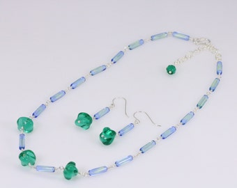 Czech green twisted glass bead, blue tube bead necklace and earrings set, sterling silver jewelry set