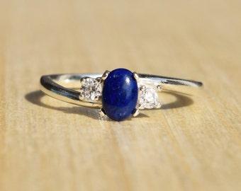 Lapis Lazuli Ring, Lapis Ring, Silver Lapis Lazuli Ring, Dark Blue Ring, CZ Lapis Ring, Simple Ring, Petite Ring