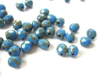 50pcs 4mm Opaque Blue Picasso Czech beads