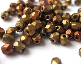 50 piece 3mm metallic mix Czech beads