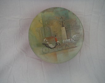 Vintage 1980's Victorian woman in carriage tin-collectible