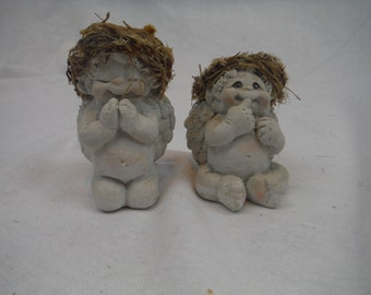 1990's - Set of 2 Dreamsicle Baby Cherub Figurines - Decorum, Retro,Collectible