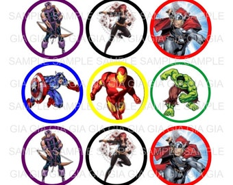Avengers - 1 inch Bottle Cap Images 4x6 Printable Bottlecap Collage INSTANT DOWNLOAD