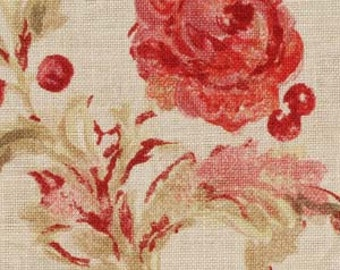 BEACON HILL MONTELCINO Floral Linen Fabric 5 Yards Coral