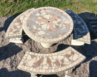 Patio Set, Patio Table, Outdoor Tables, Mosiac Table, Palm Tree, 42