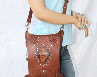 handmade TAN Brown hip and holster STEAMPUNK leather bag, leather holster bag