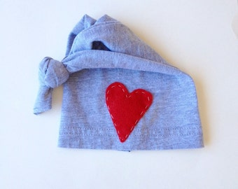 Gray Baby knot hat with red heart, Gender neutral hospital hat, newborn photography prop, baby beanie, knot beanie