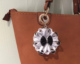 Black and white ribbon rosette bag charm