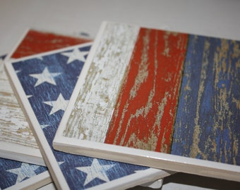 Patriotic decor/ceramic tile/drink coasters/red/white/blue/american flag decor/patriotic gift/gift for him/gift for her/housewarming gift