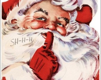 "2"" x 3"" Magnet Santa says Shhhhhh! Christmas Decoration MAGNET"