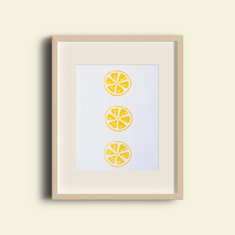 Lemon Slice Print Yellow Citrus Lino Print Bright Kitchen