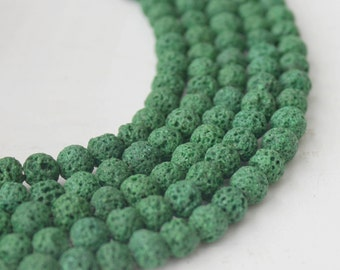 6mm Green Lava, Lave Stone, Green Beads, Natural Beads, Forest Green Lava Beads, Colored Lava Beads, Lava Stone, GS077
