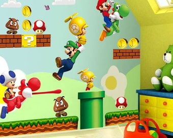 Large Super Mario Bros Kids 44 Removable Wall Sticker Decals Nursery Decor Vinyl