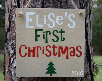 Personalized Baby's First Christmas Sign. Solid wood, Hand Painted 1-sided. Made to Order, Custom Made - Options Available!!