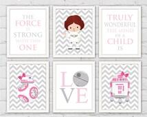 Star Wars Nursery Art Prints. Princess Leia BB-8 R2-D2 Pink Gray Girl Room Wall Decor. Star Wars Quotes. Set of 6 Prints. Item No.: 117