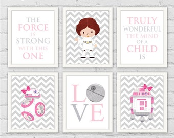 Star Wars Nursery Art Prints. Princess Leia BB-8 R2-D2 Pink Gray Girl Room Wall Decor. Star Wars Quotes. Set of 6 Prints. Item No.: 117