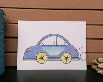 Card Car - A6 Postcard - Blank Card - Just Because Card - Card Recycled Paper.
