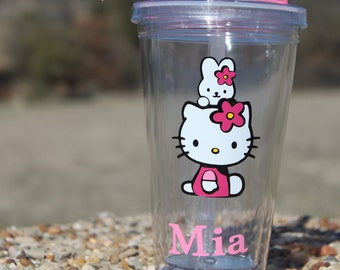 Personalized Hello Kitty with bunny clear tumbler